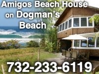 The brown house at Dogman's Beach. Tres Amigos Beachfront vacation rental in Rincon, Puerto Rico.