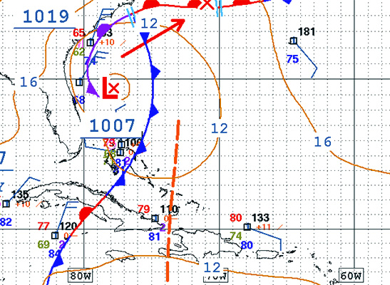 weak low pressure with cold-front for surfing puerto rico
