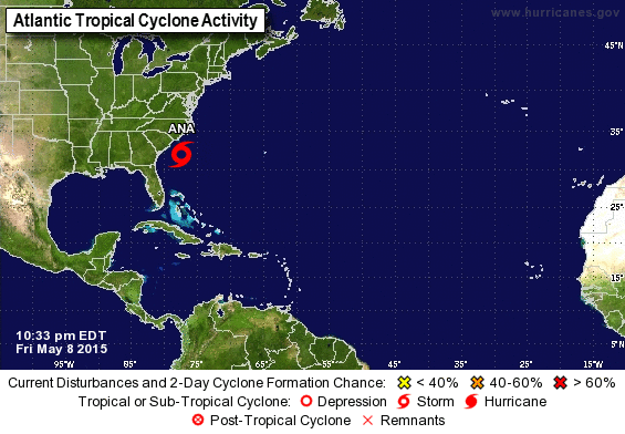 2015 Hurricane Season off to an early start with Subtropical Storm Ana.