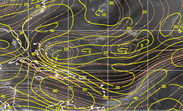 Too much wind shear for any chances of tropical surf.