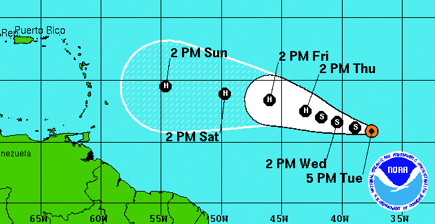 Tropical Storm Danny might bring some surf to Puerto Rico.