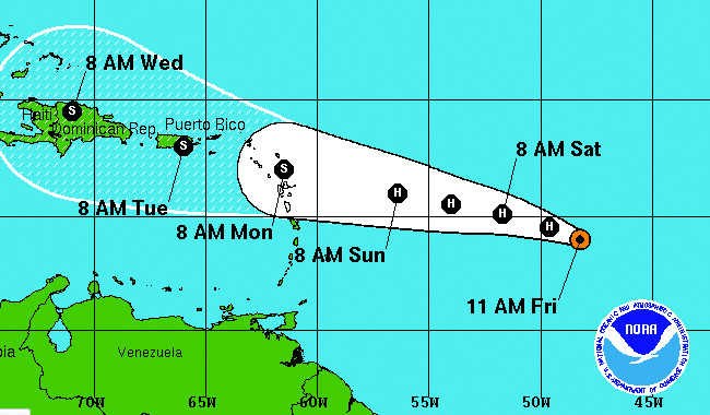 Hurricane Danny will probably hit Puerto Rico.